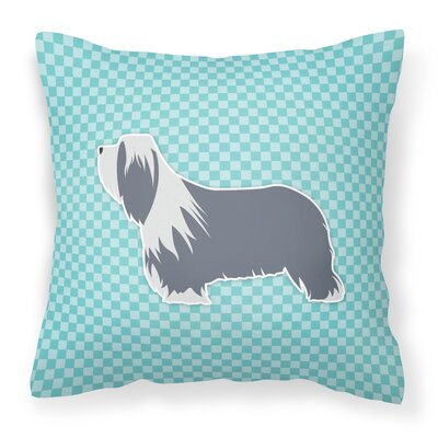 Bearded Collie Square Indoor/Outdoor Throw Pillow Size: 14 H x 14 W x 3 D, Color: Blue