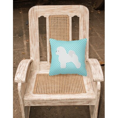 Bichon Frise Indoor/Outdoor Throw Pillow Size: 14 H x 14 W x 3 D, Color: Blue