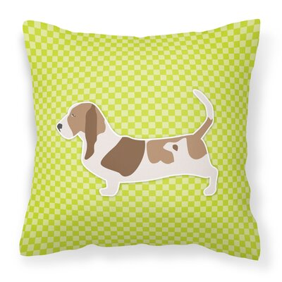 Basset Hound Indoor/Outdoor Throw Pillow Size: 14 H x 14 W x 3 D, Color: Blue