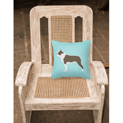 Boston Terrier Indoor/Outdoor Throw Pillow Size: 18 H x 18 W x 3 D, Color: Blue