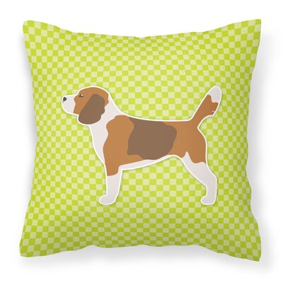 Beagle Square Indoor/Outdoor Throw Pillow Size: 14 H x 14 W x 3 D, Color: Green