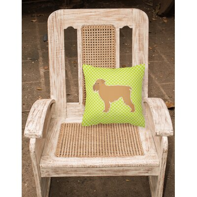 Brussels Griffon Indoor/Outdoor Throw Pillow Size: 14 H x 14 W x 3 D, Color: Green