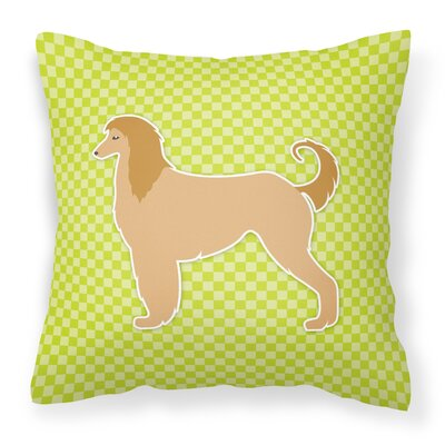 Afghan Hound Square Indoor/Outdoor Throw Pillow Size: 18 H x 18 W x 3 D, Color: Green