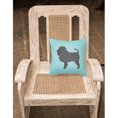 Affenpinscher Indoor/Outdoor Throw Pillow Size: 14 H x 14 W x 3 D, Color: Blue