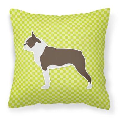 Boston Terrier Indoor/Outdoor Throw Pillow Size: 14 H x 14 W x 3 D, Color: Green
