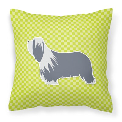 Bearded Collie Square Indoor/Outdoor Throw Pillow Size: 14 H x 14 W x 3 D, Color: Green