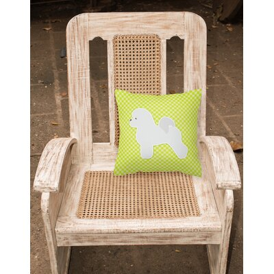 Bichon Frise Indoor/Outdoor Throw Pillow Size: 14 H x 14 W x 3 D, Color: Green