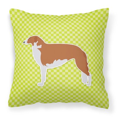 Borzoi Square Indoor/Outdoor Throw Pillow Size: 14 H x 14 W x 3 D, Color: Green