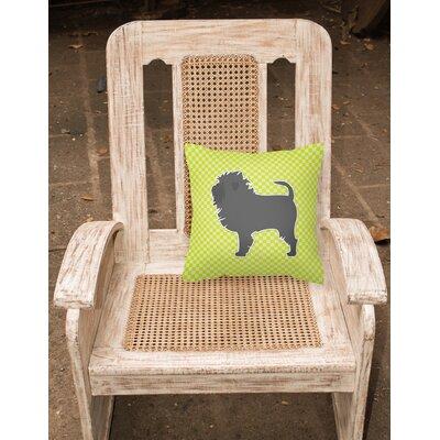Affenpinscher Indoor/Outdoor Throw Pillow Size: 14 H x 14 W x 3 D, Color: Green