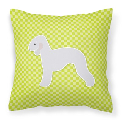 Bedlington Terrier Square Indoor/Outdoor Throw Pillow Size: 18 H x 18 W x 3 D, Color: Green