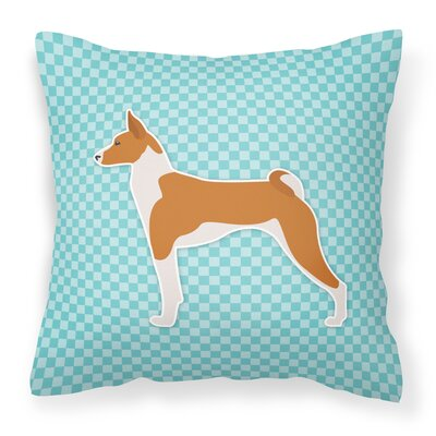 Basenji Indoor/Outdoor Throw Pillow Size: 14 H x 14 W x 3 D, Color: Blue