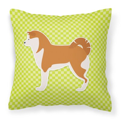 Akita Indoor/Outdoor Throw Pillow Size: 14 H x 14 W x 3 D, Color: Green