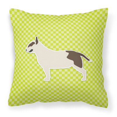 Bull Terrier Indoor/Outdoor Throw Pillow Size: 14 H x 14 W x 3 D, Color: Green