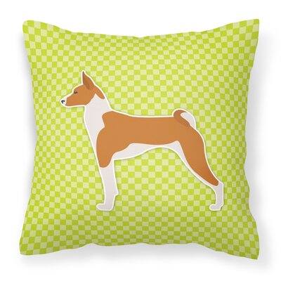 Basenji Indoor/Outdoor Throw Pillow Size: 14 H x 14 W x 3 D, Color: Green