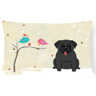 Christmas Handmade Fabric Indoor/Outdoor Lumbar Pillow Color: Black