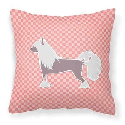 Chinese Crested Indoor/Outdoor Throw Pillow Size: 18 H x 18 W x 3 D, Color: Pink