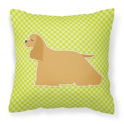 Cocker Spaniel Indoor/Outdoor Throw Pillow Size: 14 H x 14 W x 3 D, Color: Green