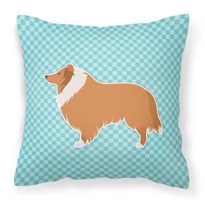 Collie Indoor/Outdoor Throw Pillow Size: 14 H x 14 W x 3 D, Color: Blue