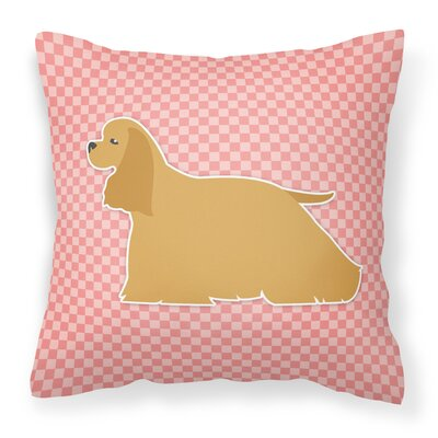 Cocker Spaniel Indoor/Outdoor Throw Pillow Size: 14 H x 14 W x 3 D, Color: Pink