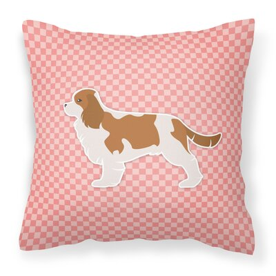Cavalier King Charles Spaniel Indoor/Outdoor Throw Pillow Size: 14 H x 14 W x 3 D, Color: Pink