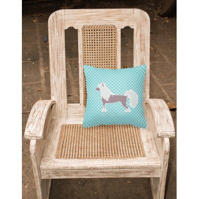 Chinese Crested Indoor/Outdoor Throw Pillow Size: 14 H x 14 W x 3 D, Color: Blue