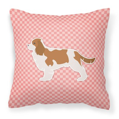 Cavalier King Charles Spaniel Indoor/Outdoor Throw Pillow Size: 18 H x 18 W x 3 D, Color: Pink