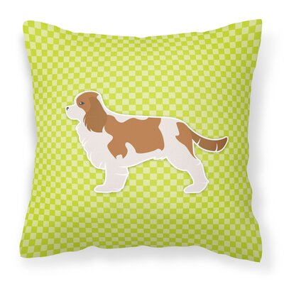 Cavalier King Charles Spaniel Indoor/Outdoor Throw Pillow Size: 14 H x 14 W x 3 D, Color: Green