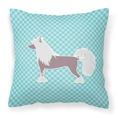 Chinese Crested Indoor/Outdoor Throw Pillow Color: Blue, Size: 18 H x 18 W x 3 D