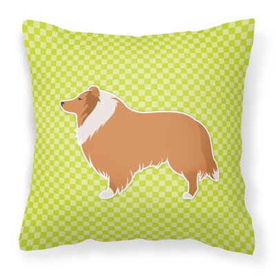 Collie Indoor/Outdoor Throw Pillow Size: 14 H x 14 W x 3 D, Color: Green