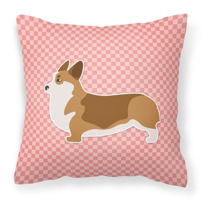 Corgi Indoor/Outdoor Throw Pillow Size: 14 H x 14 W x 3 D, Color: Pink