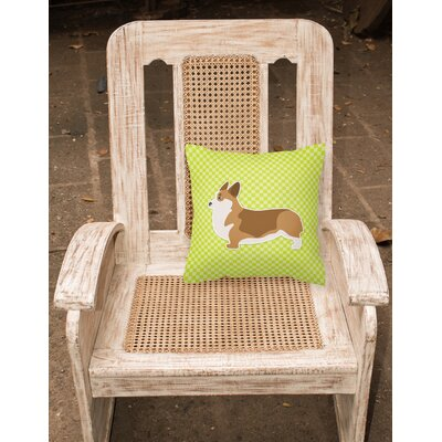 Corgi Indoor/Outdoor Throw Pillow Size: 14 H x 14 W x 3 D, Color: Green