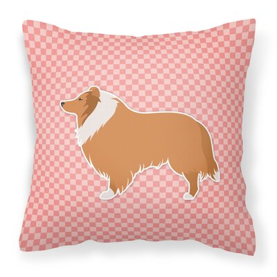 Collie Indoor/Outdoor Throw Pillow Size: 14 H x 14 W x 3 D, Color: Pink