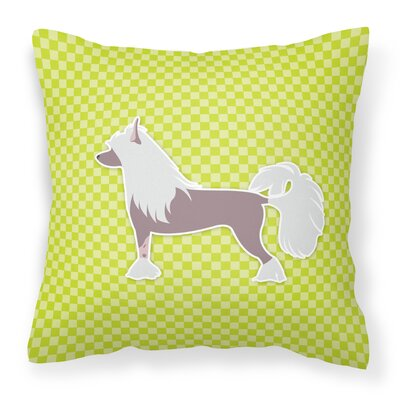 Chinese Crested Indoor/Outdoor Throw Pillow Size: 14 H x 14 W x 3 D, Color: Green
