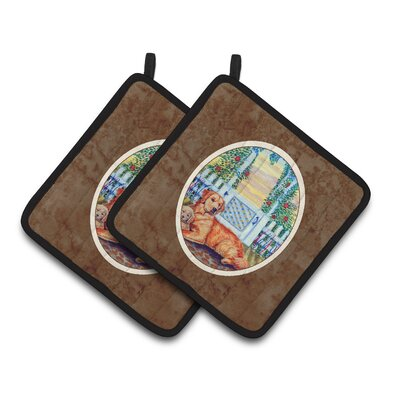 Golden Retriever and Puppy at the Fence Potholder 7148PTHD