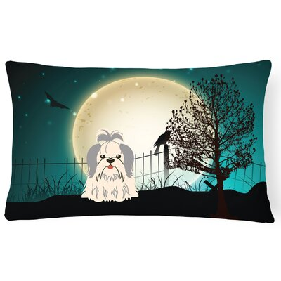 Halloween Indoor/Outdoor Lumbar Pillow Color: Silver/White