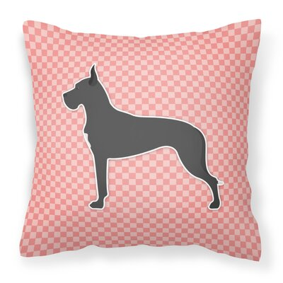 Great Dane Indoor/Outdoor Throw Pillow Size: 14 H x 14 W x 3 D, Color: Pink