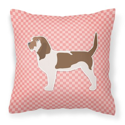 Grand Basset Griffon Vendeen Indoor/Outdoor Throw Pillow Size: 18 H x 18 W x 3 D, Color: Pink