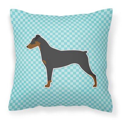 German Pinscher Indoor/Outdoor Throw Pillow Size: 14 H x 14 W x 3 D, Color: Blue