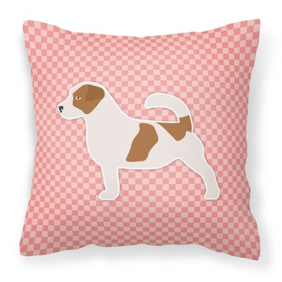 Jack Russell Indoor/Outdoor Throw Pillow Size: 14 H x 14 W x 3 D, Color: Pink
