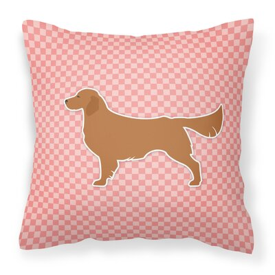 Golden Retriever Indoor/Outdoor Throw Pillow Size: 18 H x 18 W x 3 D, Color: Pink