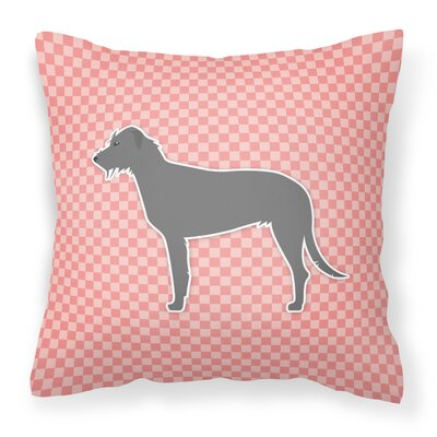 Irish Wolfhound Indoor/Outdoor Throw Pillow Size: 14 H x 14 W x 3 D, Color: Pink