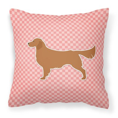 Golden Retriever Indoor/Outdoor Throw Pillow Size: 14 H x 14 W x 3 D, Color: Pink