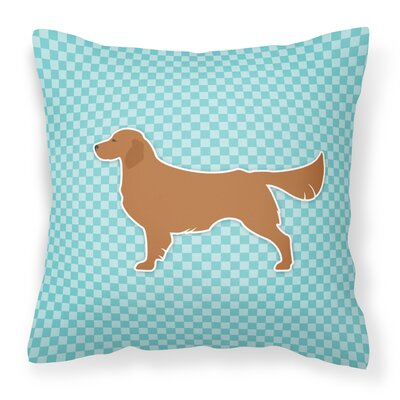 Golden Retriever Indoor/Outdoor Throw Pillow Size: 14 H x 14 W x 3 D, Color: Blue