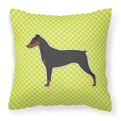 German Pinscher Indoor/Outdoor Throw Pillow Color: Green, Size: 18 H x 18 W x 3 D