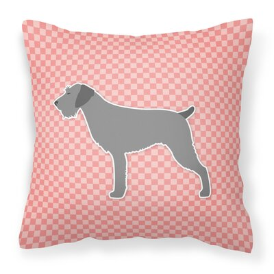 German Wirehaired Pointer Indoor/Outdoor Throw Pillow Size: 14 H x 14 W x 3 D, Color: Pink