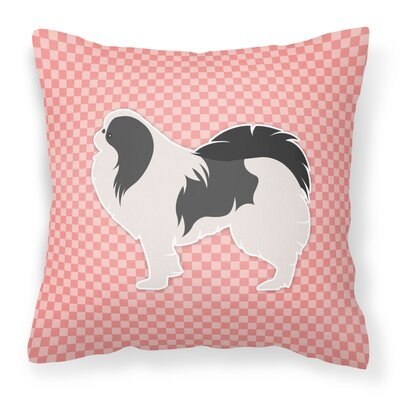 Japanese Chin Indoor/Outdoor Throw Pillow Size: 18 H x 18 W x 3 D, Color: Pink