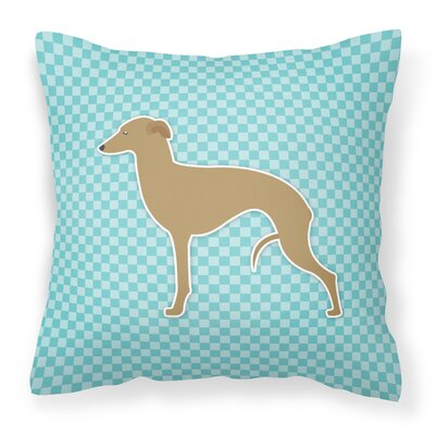 Italian Greyhound Indoor/Outdoor Throw Pillow Size: 14 H x 14 W x 3 D, Color: Blue