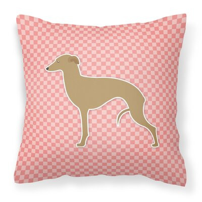 Italian Greyhound Indoor/Outdoor Throw Pillow Size: 14 H x 14 W x 3 D, Color: Pink