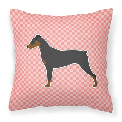 German Pinscher Indoor/Outdoor Throw Pillow Size: 18 H x 18 W x 3 D, Color: Pink