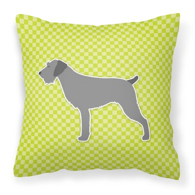 German Wirehaired Pointer Indoor/Outdoor Throw Pillow Size: 14 H x 14 W x 3 D, Color: Green